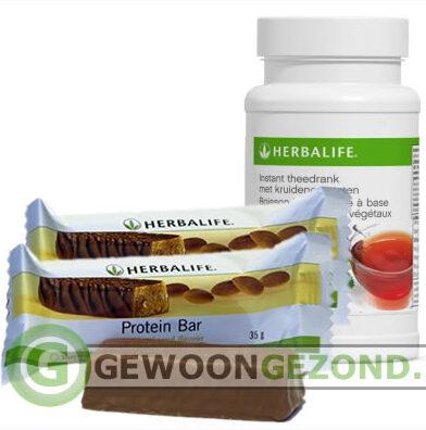 Heerlijk: Herbalife theedrank met proteinereep